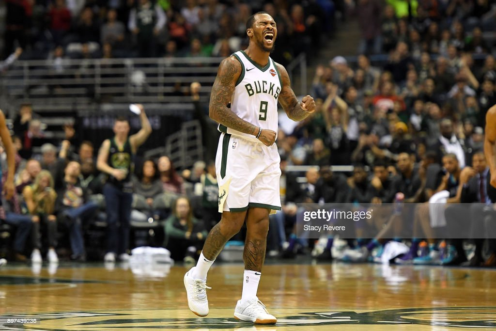 Sean Kilpatrick #9 of the Milwaukee Bucks reacts to a score during the second half of a game against the Charlotte Hornets at the Bradley Center on December 22, 2017 in Milwaukee, Wisconsin.