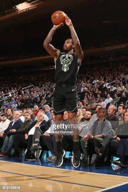 Sean Kilpatrick of the Milwaukee Bucks shoots a 3pointer during the game against the New York Knicks on February 6 2018 at Madison Square Garden in...