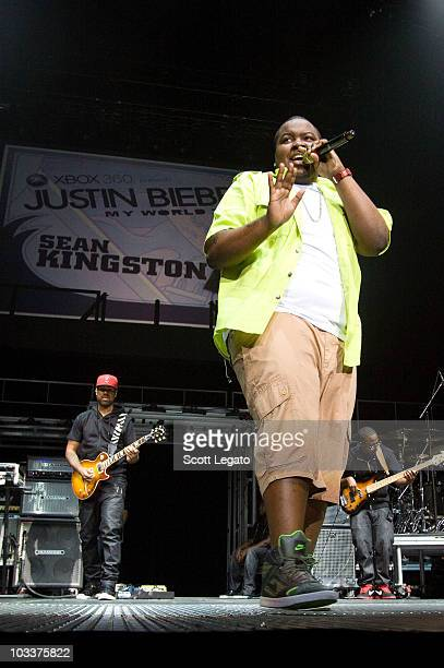 Sean Kingston performs during the My World Tour at Conseco Fieldhouse on August 12 2010 in Indianapolis Indiana