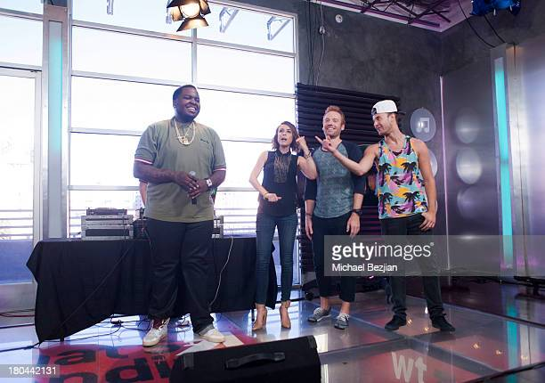 """Sean Kingston, Shira Lazar, Ethan Newberry and Bert Baker attend Sean Kingston and Terry Crews Visits """"What's Trending"""" on September 12, 2013 in..."""
