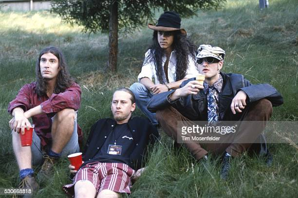 Sean Kinney Jerry Cantrell Mike Inez and Layne Staley of Alice in Chains pose at Lollapalooza 1993 at Shoreline Amphitheatre on June 23 1993 in...