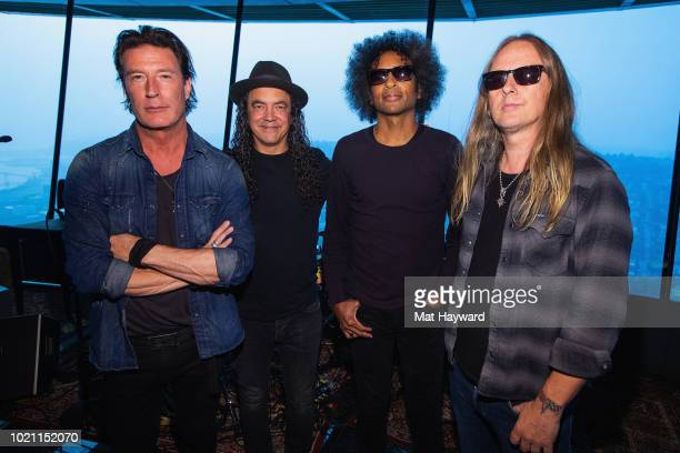 Sean Kinney Mike Inez William DuVall and Jerry Cantrell of Alice In Chains pose for a photo before performing for SiriusXM's Lithium Channel at The...