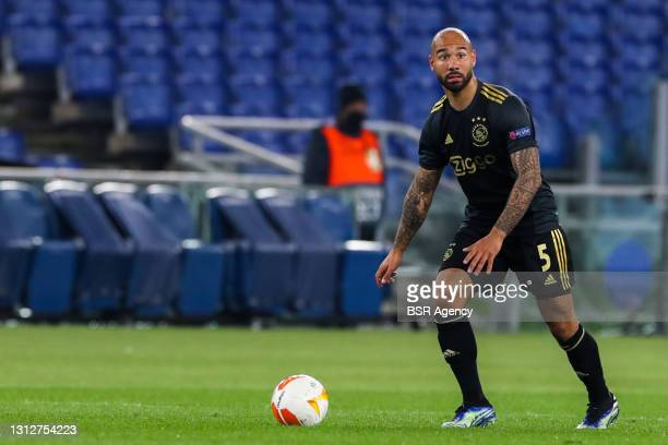 Sean Klaiber of Ajax during the UEFA Europa League Quarter Final: Leg Two match between AS Roma and Ajax at Stadio Olimpico on April 15, 2021 in...