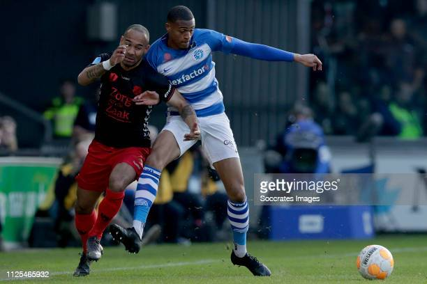 Sean Klaiber of FC Utrecht Delano Burgzorg of De Graafschap during the Dutch Eredivisie match between De Graafschap v FC Utrecht at the De Vijverberg...