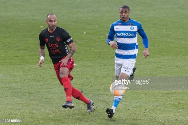 Sean Klaiber of FC Utrecht Delano Burgzorg of De Graafschap during the Dutch Eredivisie match between De Graafschap Doetinchem and FC Utrecht at De...