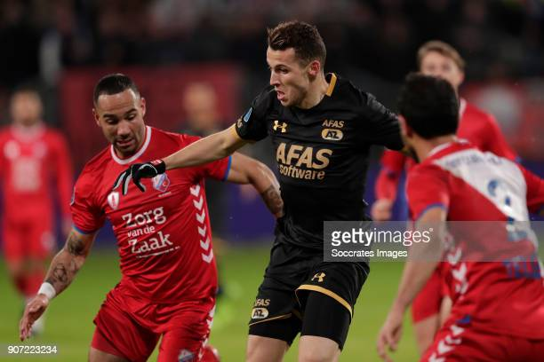 Sean Klaiber of FC Utrecht Oussama Idrissi of AZ Alkmaar during the Dutch Eredivisie match between FC Utrecht v AZ Alkmaar at the Stadium Galgenwaard...
