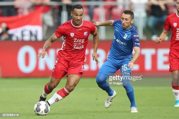 Sean Klaiber of FC Utrecht Radoslaw Majewski of Lech Poznan during the UEFA Europa League third qualifying round first leg match between FC Utrecht...