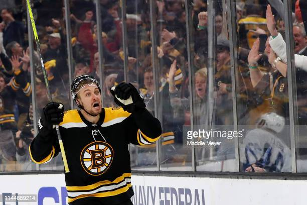 Sean Kuraly of the Boston Bruins celebrates after scoring a goal against the Toronto Maple Leafs during the third period of Game Seven of the Eastern...