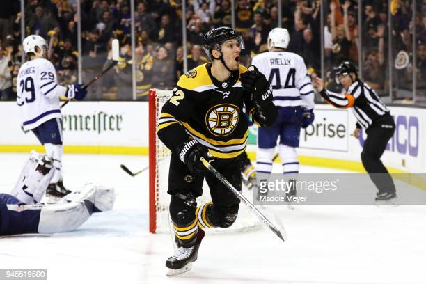 Sean Kuraly of the Boston Bruins celebrates after scoring a goal against the Toronto Maple Leafs during the third period of Game One of the Eastern...
