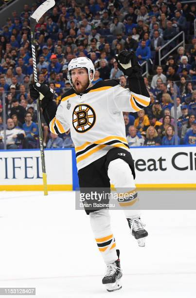 Sean Kuraly of the Boston Bruins celebrates his first-period goal against the St. Louis Blues in Game Three of the 2019 NHL Stanley Cup Final at...
