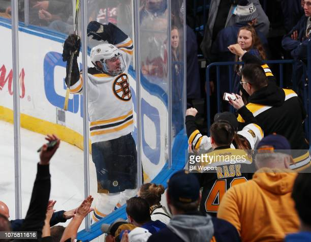 Sean Kuraly of the Boston Bruins celebrates his game winning overtime goal against the Buffalo Sabres during an NHL game on December 29, 2018 at...