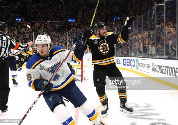 Sean Kuraly of the Boston Bruins celebrates his goal in the third period of Game One of the 2019 Stanley Cup Finals against the St. Louis Blues at TD...