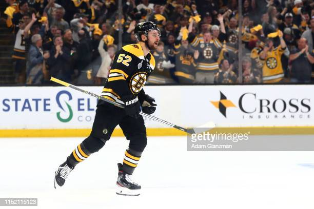 Sean Kuraly of the Boston Bruins celebrates his third period goal against the St. Louis Blues in Game One of the 2019 NHL Stanley Cup Final at TD...