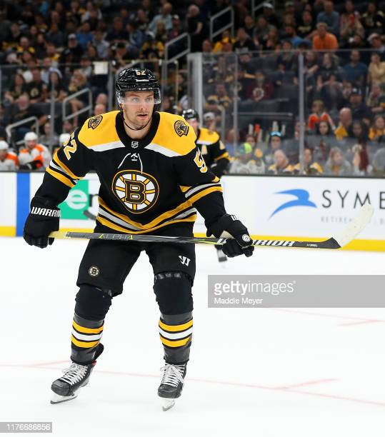 Sean Kuraly of the Boston Bruins looks on during the second period of the preseason game between the Philadelphia Flyers and the Boston Bruins at TD...