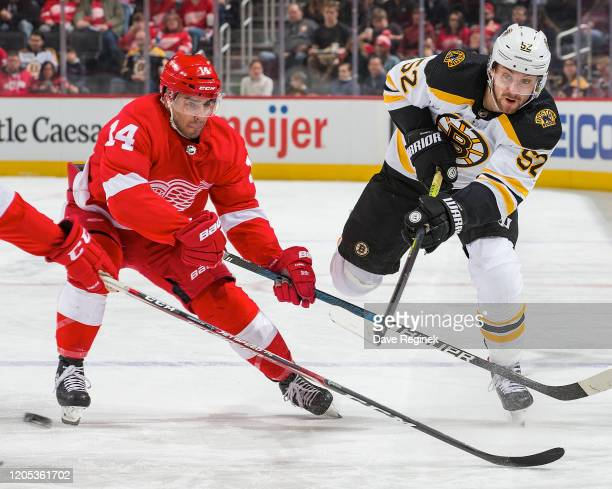 Sean Kuraly of the Boston Bruins shoots the puck past Robby Fabbri of the Detroit Red Wings during an NHL game at Little Caesars Arena on February 9,...