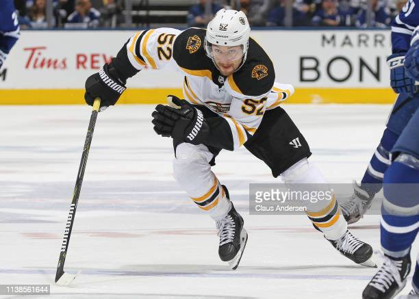 Sean Kuraly of the Boston Bruins skates against the Toronto Maple Leafs in Game Six of the Eastern Conference First Round during the 2019 NHL Stanley...