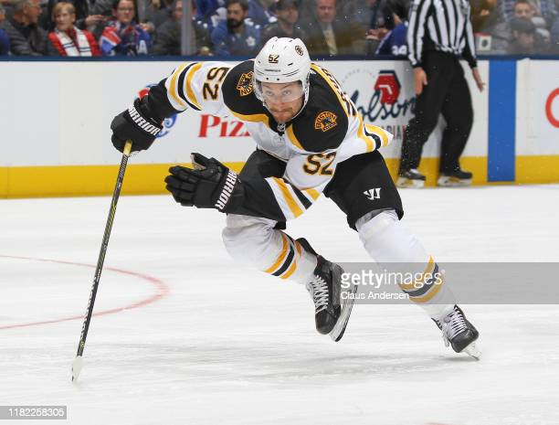 Sean Kuraly of the Boston Bruins skates against the Toronto Maple Leafs during an NHL game at Scotiabank Arena on October 19, 2019 in Toronto,...