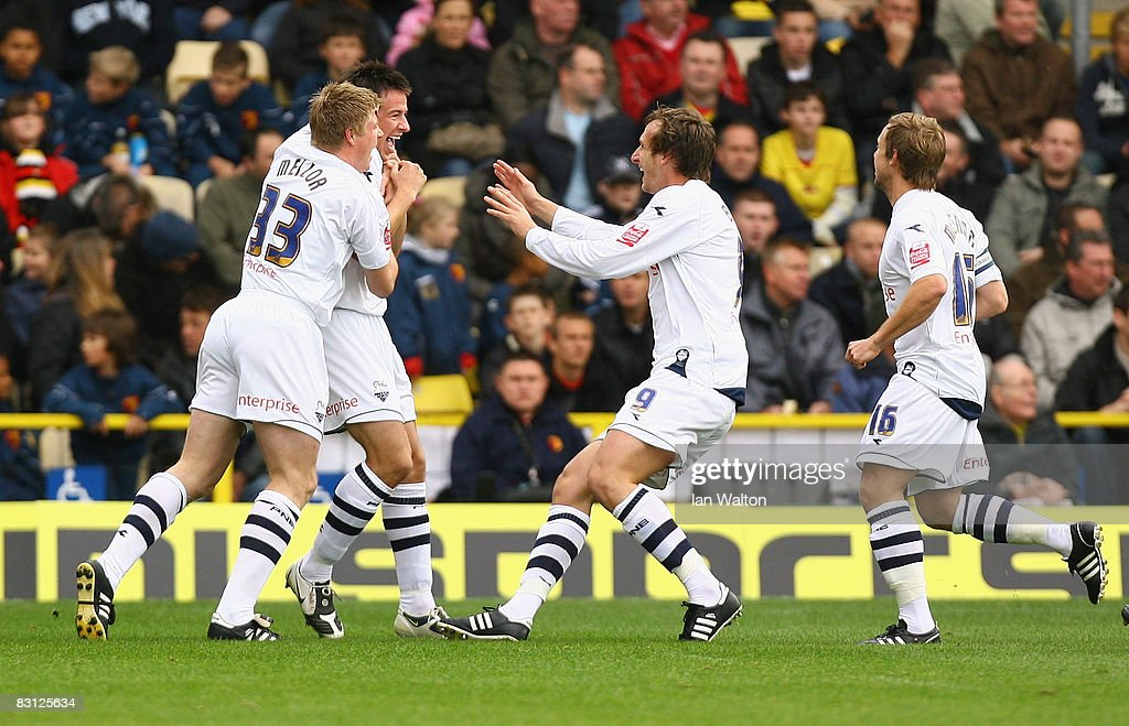Sean Ledger of Preston celebrates after scoring the first goal during the Coca-Cola Championship match between Watford and Preston North End at Vicarage Road on October 04, 2008 in Watford, England.