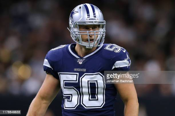 Sean Lee of the Dallas Cowboys reacts during a game against the New Orleans Saints at the Mercedes Benz Superdome on September 29, 2019 in New...