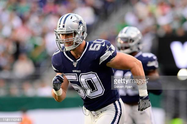 Sean Lee of the Dallas Cowboys runs the play against the New York Jets at MetLife Stadium on October 13, 2019 in East Rutherford, New Jersey.