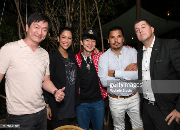 Sean Lee Violet Camacho JJ Lin Crime By Design and Cole Harris attend the Haute Living Celebrates Kate Mara with Westime event on August 7 2017 in...