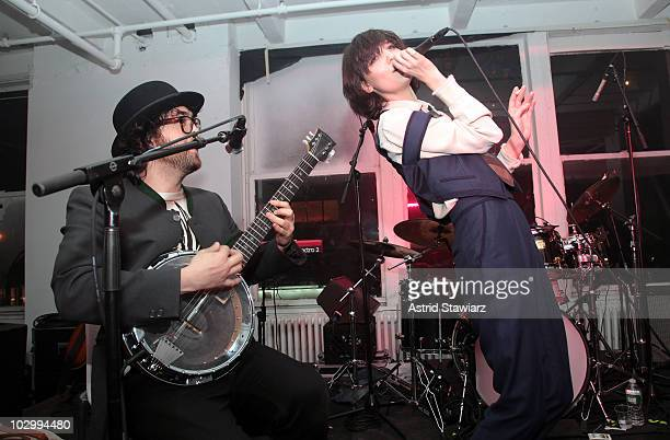 Sean Lennon and Irina Lazareanu perform during the Corduroy Magazine launch & exhibition presented by We Work at Milk Gallery on June 10, 2010 in New...