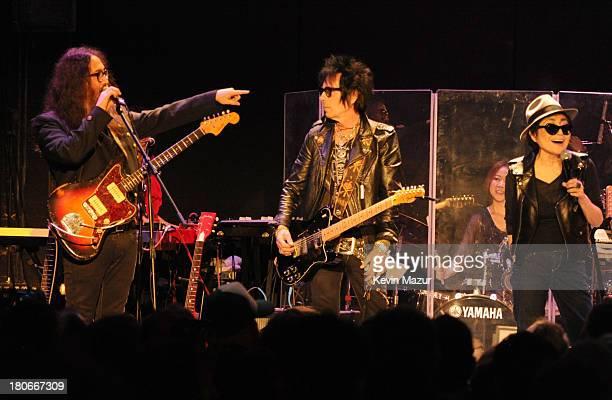 Sean Lennon, Earl Slick, Yoko Ono and Plastic Ono Band perform at Bowery Ballroom on September 15, 2013 in New York City.