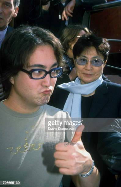 Sean Lennon his mother Yoko Ono arrive for the cermony marking the birth of Luis Buneul
