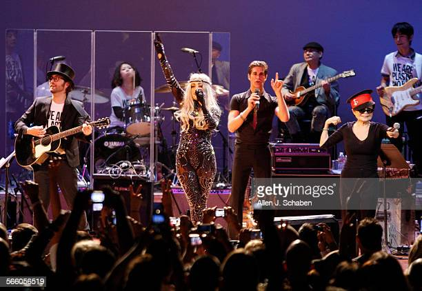 Sean Lennon left music director Lady Gaga center Perry Farrell performs an encore with Yoko Ono right and the Plastic Ono Band at the Orpheum Theatre...