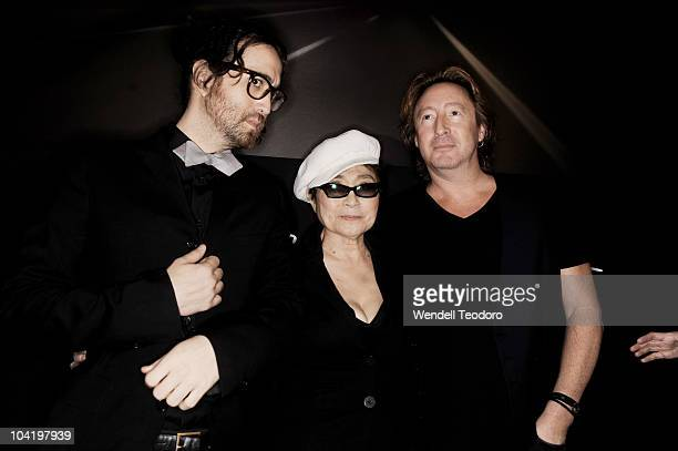 Sean Lennon Yoko Ono and Julian Lennon attend the Timeless photography exhibition opening party at the Morrison Hotel Gallery on September 16 2010 in...