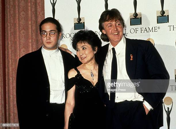Sean Lennon, Yoko Ono and Paul McCartney attend the 1994 Rock and Roll Hall of Fame Induction Ceremony circa 1994 in New York City.