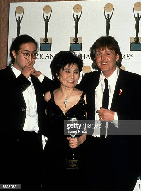 Sean Lennon Yoko Ono and Paul McCartney attend the 1994 Rock and Roll Hall of Fame Induction Ceremony circa 1994 in New York City
