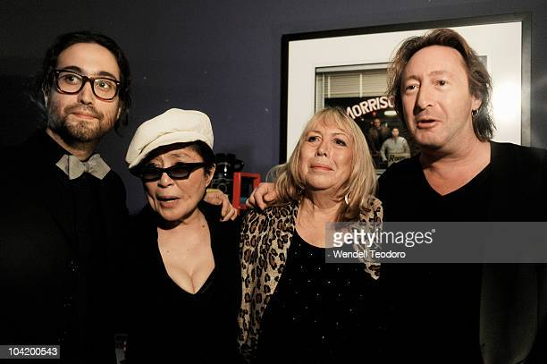 Sean Lennon Yoko Ono Cynthia Lennon and Julian Lennon attends the Timeless photography exhibition opening party at the Morrison Hotel Gallery on...