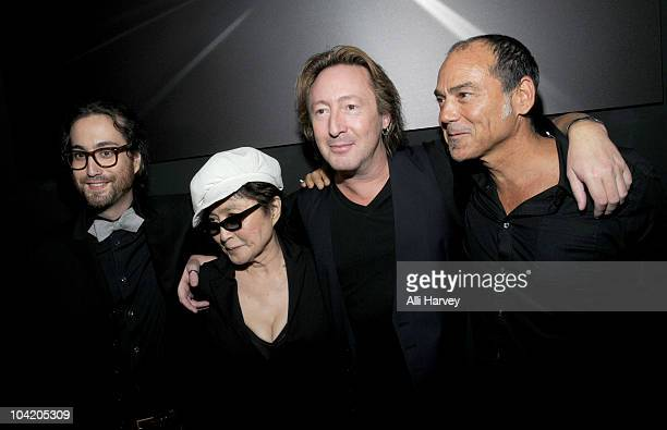 Sean Lennon Yoko Ono Julian Lennon and Timothy White attend the Timeless photography exhibition opening party at the Morrison Hotel Gallery on...