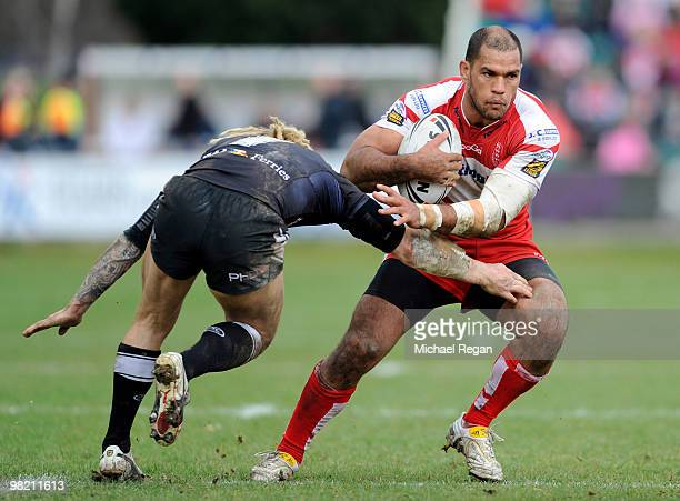 Sean Long of Hull FC tries to tackle Jake Webster of Hull KR during the engage Super League match between Hull Kingston Rovers and Hull FC at Craven...
