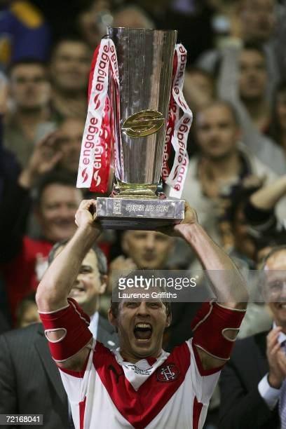 Sean Long of St Helens lifts the trophy following his team's victory during the Engage Super League Grand Final between St Helens and Hull FC at Old...
