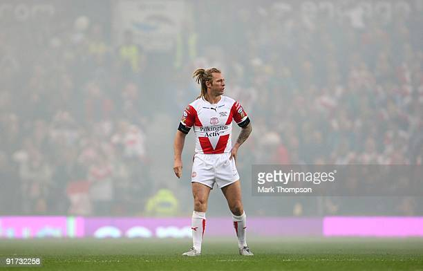 Sean Long of St Helens looks on during the Engage Super League Grand Final between Leeds Rhinos and St Helens at Old Trafford on October 10 2009 in...