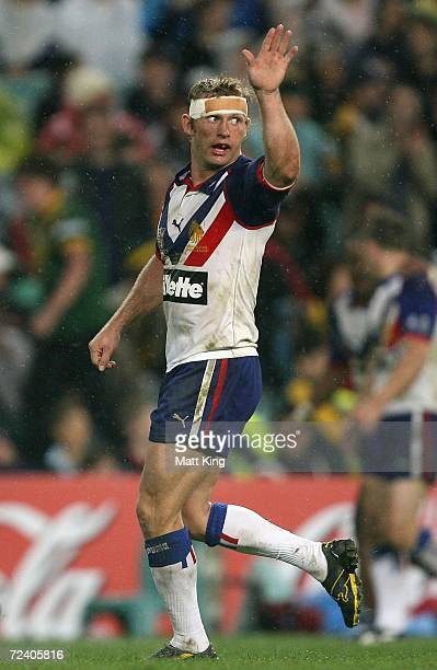 Sean Long of the Lions celebrates kicking a field goal during the Tri-Nations Series match between the Australian Kangaroos and the Great Britain...