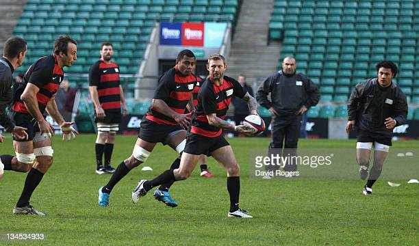 Sean Long of the Northern Hemisphere XV for the Help for Heroes Challenge runs with the ball during the captain's run at Twickenham Stadium on...