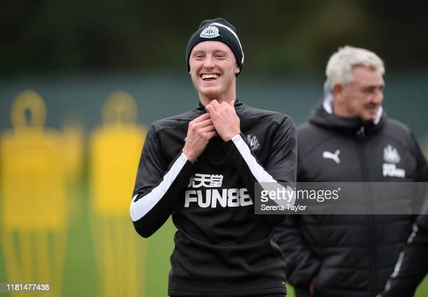 Sean Longstaff laughs during the Newcastle United Training Session at the Newcastle United Training Centre on October 16 2019 in Newcastle upon Tyne...