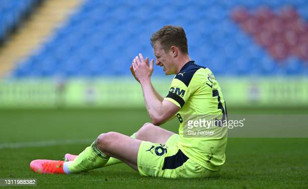 Sean Longstaff of Newcastle reacts after a challenge which went to VAR but no penalty was given during the Premier League match between Burnley and...