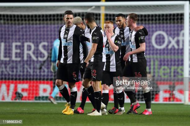 Sean Longstaff of Newcastle United celebrates after scoring a goal to make it 0-1 during the FA Cup Fourth Round Replay match between Oxford United...