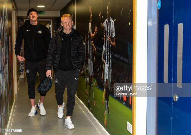 Sean Longstaff of Newcastle United FC and brother Matty Longstaff arrives for the FA Cup Fifth Round match between West Bromwich Albion and Newcastle...
