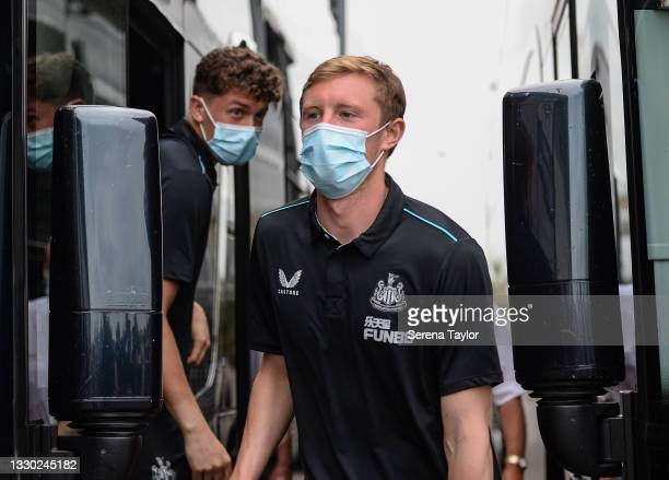 Sean Longstaff of Newcastle United FC arrives for the Pre Season Friendly between Doncaster Rovers and Newcastle United at the Keepmoat Stadium on...