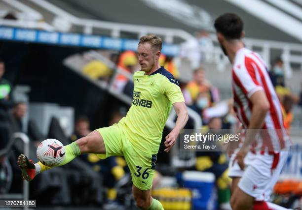 Sean Longstaff of Newcastle United FC controls the ball during the Pre Season Friendly between Newcastle United and Stoke City at St James' Park on...