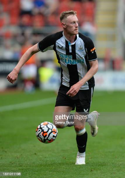 Sean Longstaff of Newcastle United FC runs with the ball during the Pre Season Friendly between Rotherham United and Newcastle United at AESSEAL New...
