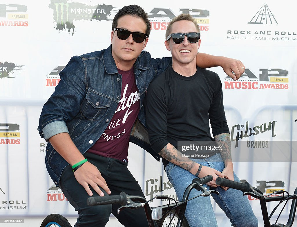 Sean Mackin and Ryan Key of Yellowcard attend the 2014 Gibson Brands AP Music Awards at the Rock and Roll Hall of Fame and Museum on July 21, 2014 in Cleveland, Ohio.
