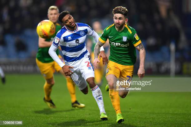 Sean Maguire of Preston North End and Darnell Furlong of Queens Park Rangers during the Sky Bet Championship match between Queens Park Rangers and...