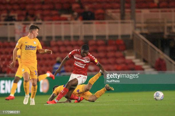 Sean Maguire of Preston North End battles with Anfernee Dijksteel of Middlesbrough during the Sky Bet Championship match between Middlesbrough and...
