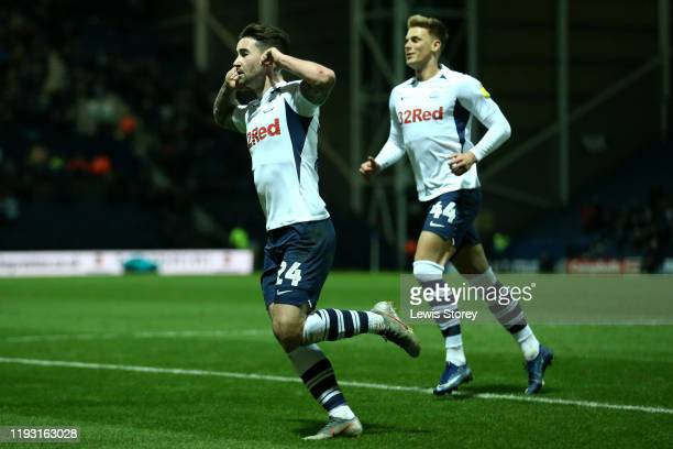 Sean Maguire of Preston North End celebrates scoring his sides first goal during the Sky Bet Championship match between Preston North End and Fulham...